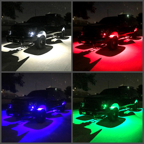 Rgbw color change rock light underglow kit add plugplay synced rgbw wheel rings to your kit asfbconference2016 Image collections