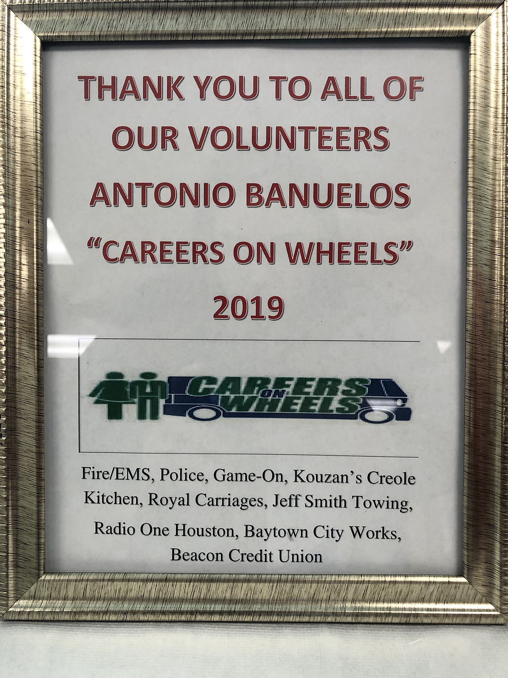 Thank You Plaque from Dr. Antonio Banuelos Elementary for attending Careers on Wheels.