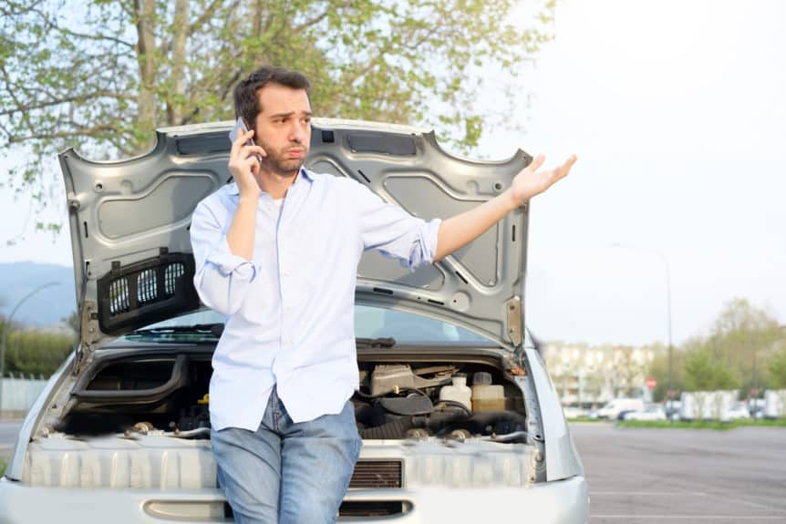 customer waiting for Baytown towing service