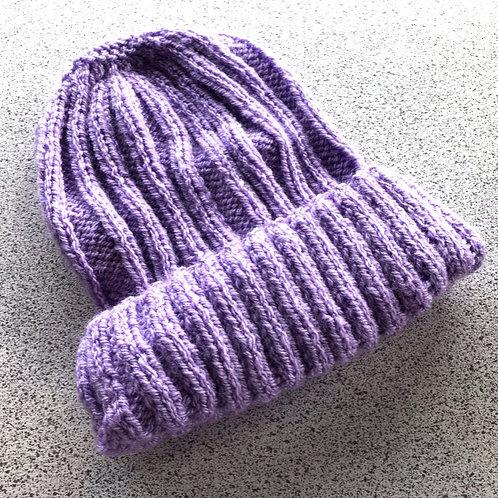 Vegan, Hand Knitted, Purple Beanie