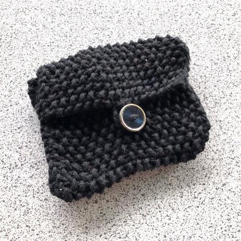 Vegan, hand knitted black purse