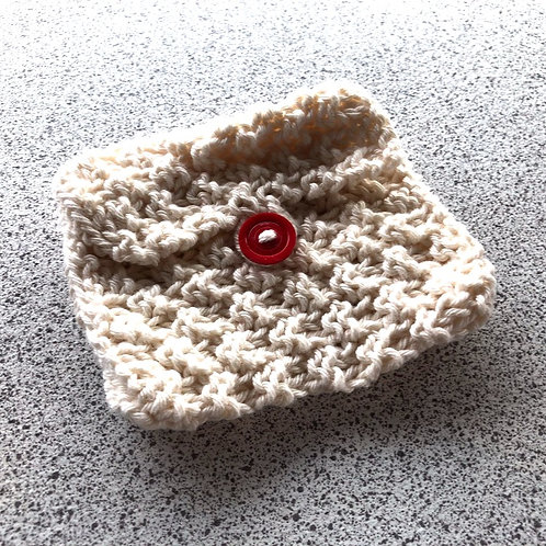 Vegan, Hand Knitted Cream Purse with Red Button