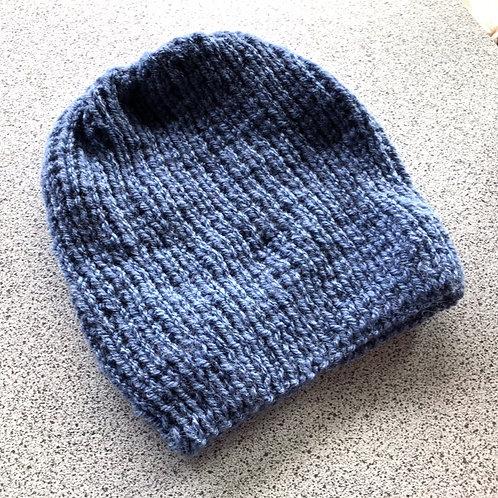 Vegan, Hand Knitted, Blue Beanie