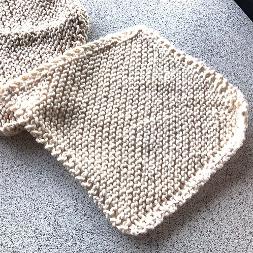 Cream, VEGAN, hand knitted face flannel