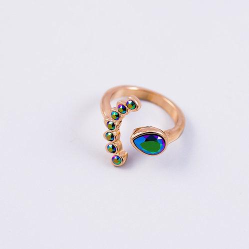 Gold & Scarabaeus Green Four Petal Flower Ring