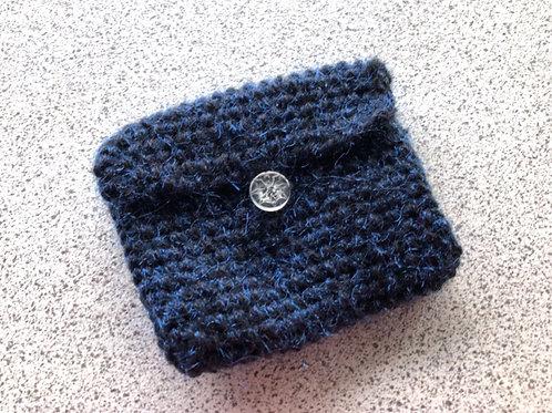 Vegan, Hand Knitted, Blue/Black Purse.