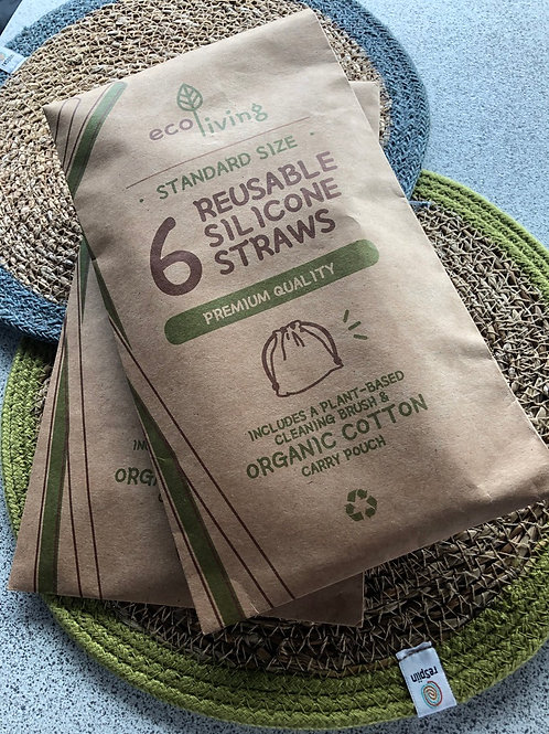 6 Reusable Silicone Straws (Plastic Free & Vegan)