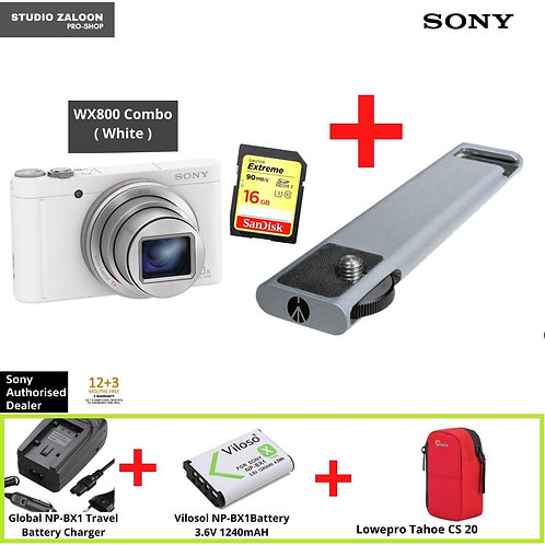 Sony Cyber-shot WX800 Compact High-zoom 4K Camera (White) + 16GB Micro SD Card
