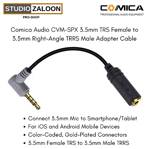 Comica Audio CVM-SPX 3.5mm TRS Female to 3.5mm Right-Angle TRRS Male Adapter