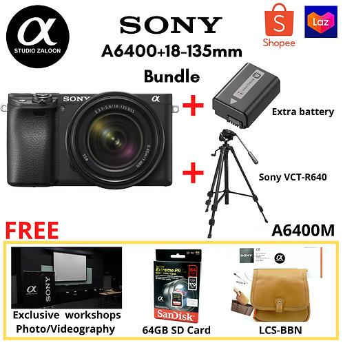 Sony Alpha a6400M Bundle + Extra battery + Sony Tripod + LCS-BBN + 64GB SD Card