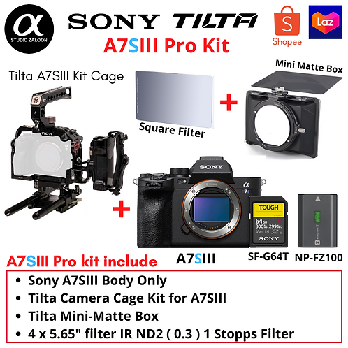 Sony A7SIII Pro Kit Bundle with Tilta Cage + Matte Box + Square Filter