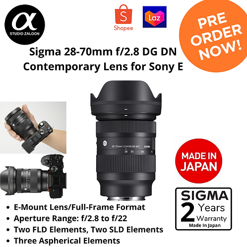 Sigma 28-70mm f/2.8 DG DN Contemporary Lens for Sony E ( PRE-ORDER )