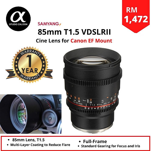 Samyang 85mm T1.5 VDSLRII Cine Lens for CANON