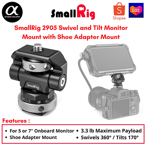 SmallRig 2905 Swivel and Tilt Monitor Mount with Shoe Adapter Mount