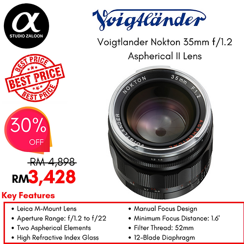 Voigtlander Nokton Aspherical 35mm f/1.2 Lens II