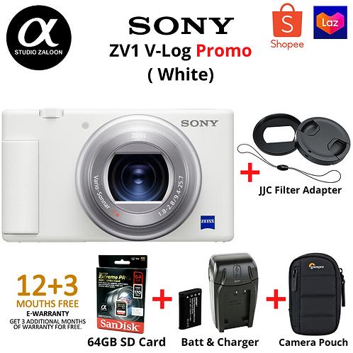 Sony ZV1 & JJC Filter adapter Combo ( White )