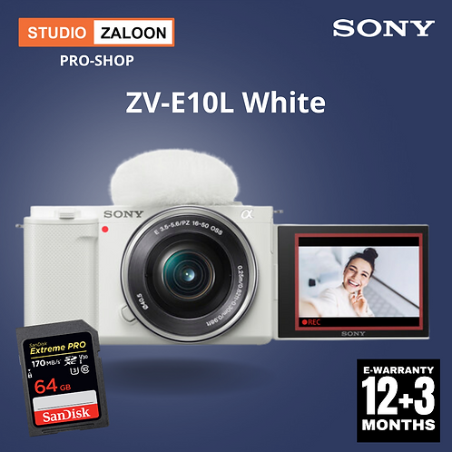 Sony ZV-E10L/WQ  with 16-50mm Lens (White)Mirrorless Camera
