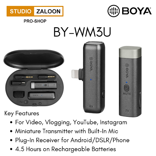 BOYA BY-WM3D Digital True-Wireless Microphone System for iOS Devices, Cameras, S