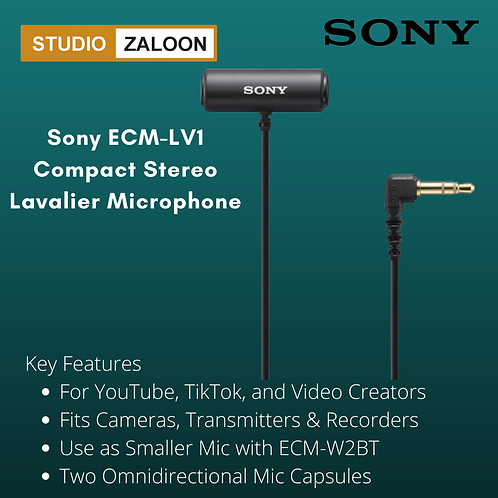 Sony ECM-LV1 Compact Stereo Lavalier Microphone with 3.5mm TRS Connector