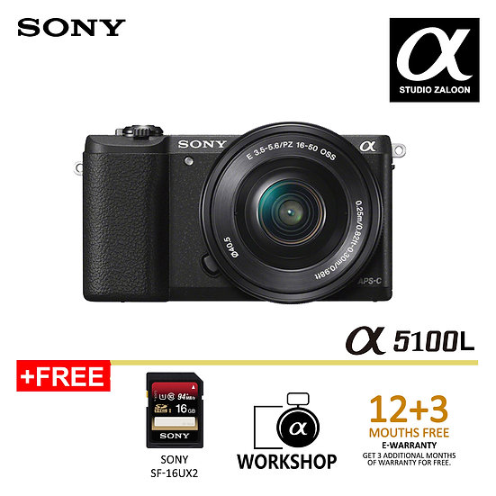 [ Pre Order 2 Weeks ] Sony A5100 WITH 16-50mm Lens Digital Camera (Black
