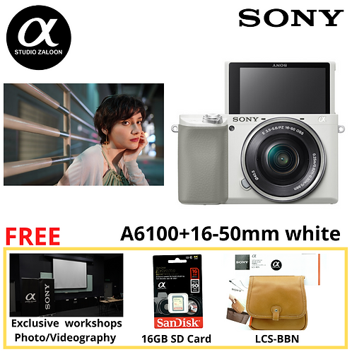 Sony Alpha a6100 Mirrorless Digital Camera with 16-50mm Lenses (White)