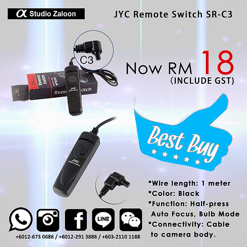JYC 1m Remote Switch SR-C3 for Canon