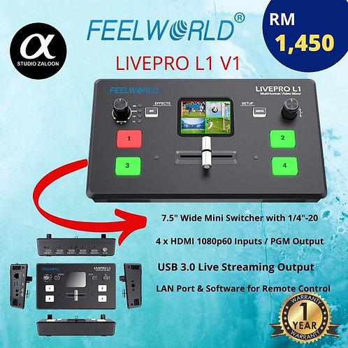 FEELWORLD LIVEPRO L1 VIDEO MIXER/SWITCHER MULTI-FORMAT 4 X HDMI INPUTS MULTI CAM