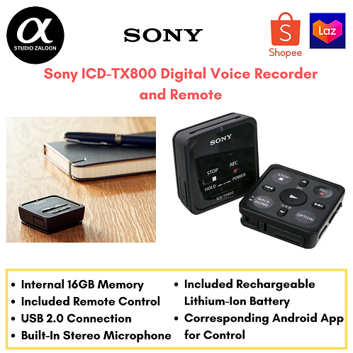 Sony ICD-TX800 Digital Voice Recorder and Remote