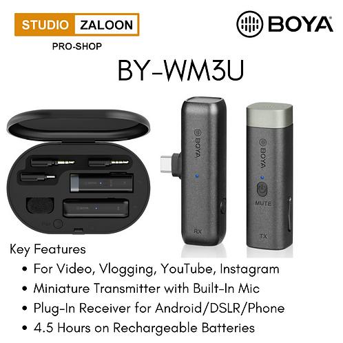BOYA BY-WM3U Digital True-Wireless Microphone System for Type-C Devices, Cameras