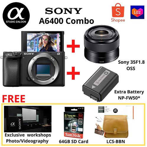 Sony A6400 Body + Sony E 35mm F1.8 OSS + Extra Battery + 64gb sd card + LCS-BBN