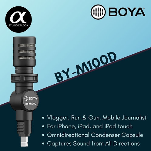 BOYA BY-M100D Ultracompact Condenser Microphone with Lightning Connector