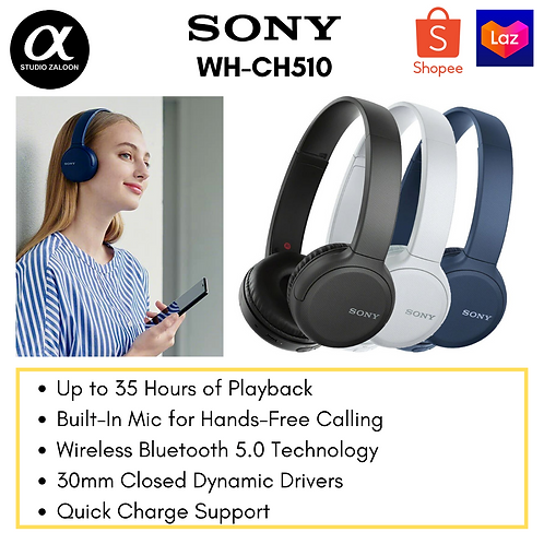 Sony WH-CH510 Wireless On-Ear Headphones
