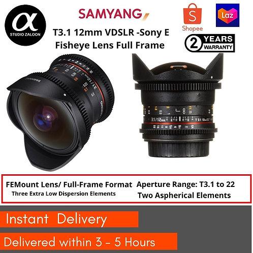 Samyang 12 T3.1 VDSLR Cine Fisheye Lens for Sony E
