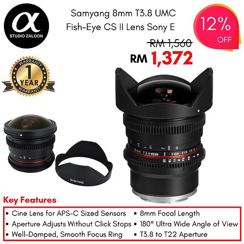 Samyang 8mm T3.8 UMC Fish-Eye CS II Lens for Sony E