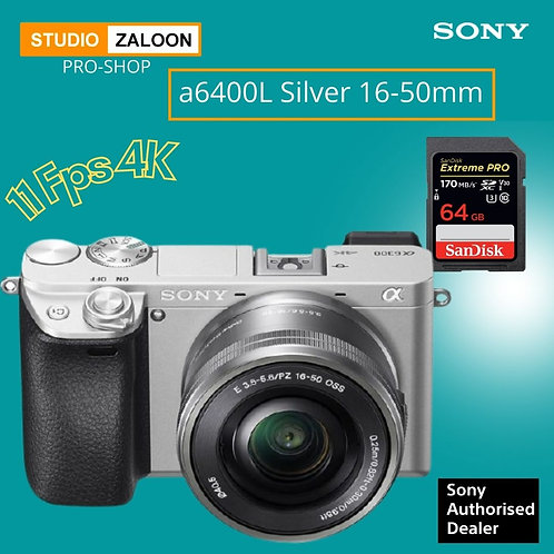Sony Alpha a6400L Silver  Mirrorless Digital Camera with 16-50mm