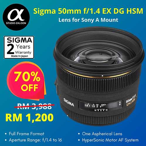 Sigma 50mm f/1.4 EX DG HSM Lens for Sony Alpha ( Special Price )
