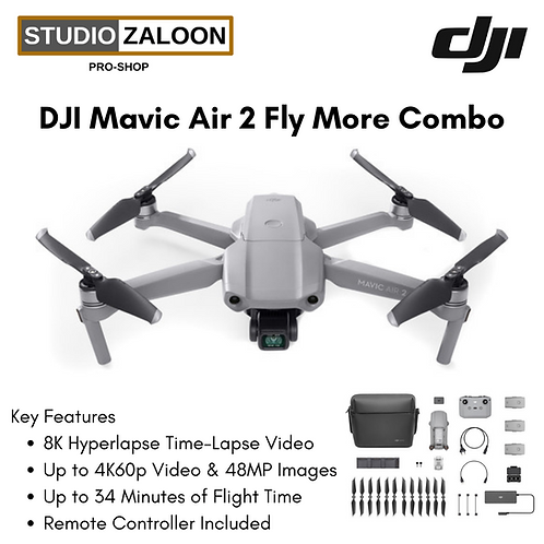 DJI Mavic Air 2 Fly More Combo Drone with 48MP Camera 8K Video Quality