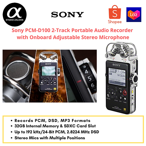 Sony PCM-D100 2-Track Portable Audio Recorder with Onboard Adjustable Stereo Mic