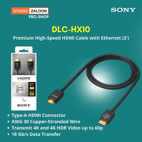Sony DLC-HX10 Premium High-Speed HDMI Cable with Ethernet (3')