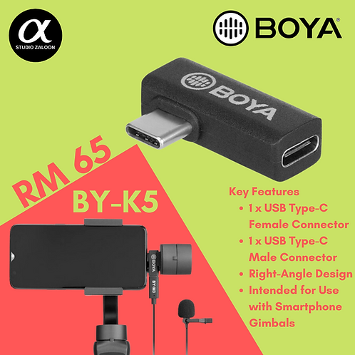 BOYA BY-K5 USB Type-C Female to Male Right-Angle Adapter