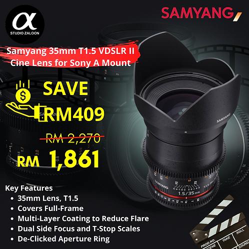 Samyang 35mm T1.5 VDSLRII Cine Lens for Sony Alpha A Mount