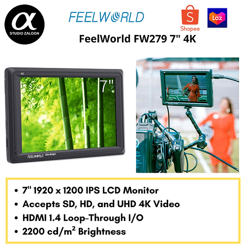 """FeelWorld 7"""" 4K Ultra-Bright Monitor with Loop-Through HDMI"""