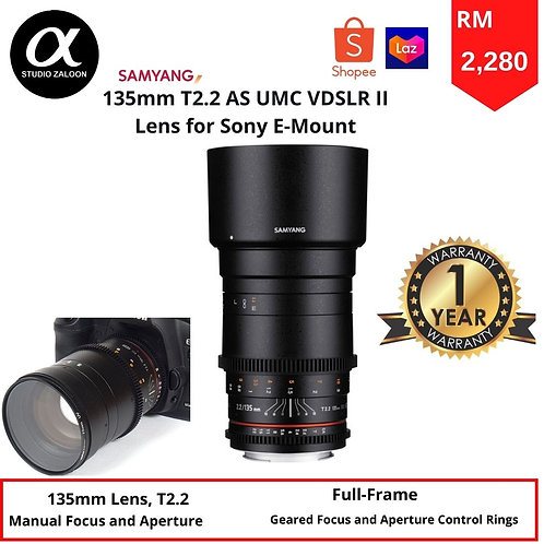 Samyang 135mm T2.2 AS UMC VDSLR II Lens for Sony E