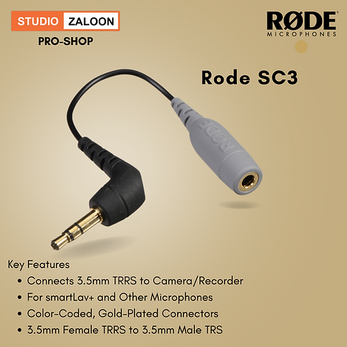 Rode SC3 3.5mm TRRS Female to 3.5mm Right-Angle TRS Male Adapter Cable