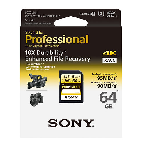Sony SF-64P 64GB Ultra-High Durability Professional SDXC UHS-I Memory Card