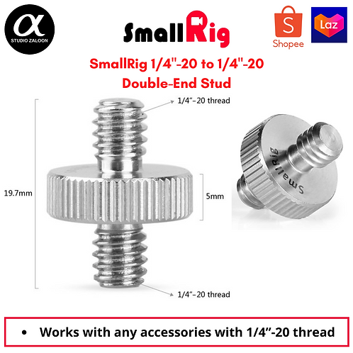 "Double Head Stud with 1/4"" to 1/4"" Camera Screw Adapter Threaded Screw Adapter"