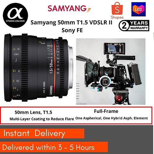 Samyang 50mm T1.5 VDSLR II Sony FE   Full Frame