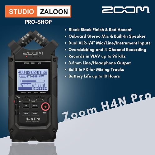 Zoom H4n Pro 4-Input / 4-Track Portable Handy Recorder with Onboard X/Y Mic Caps
