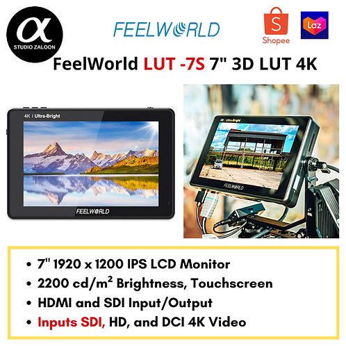 """FeelWorld LUT7S 7"""" 3D LUT 4K HDMI and SDI Monitor"""