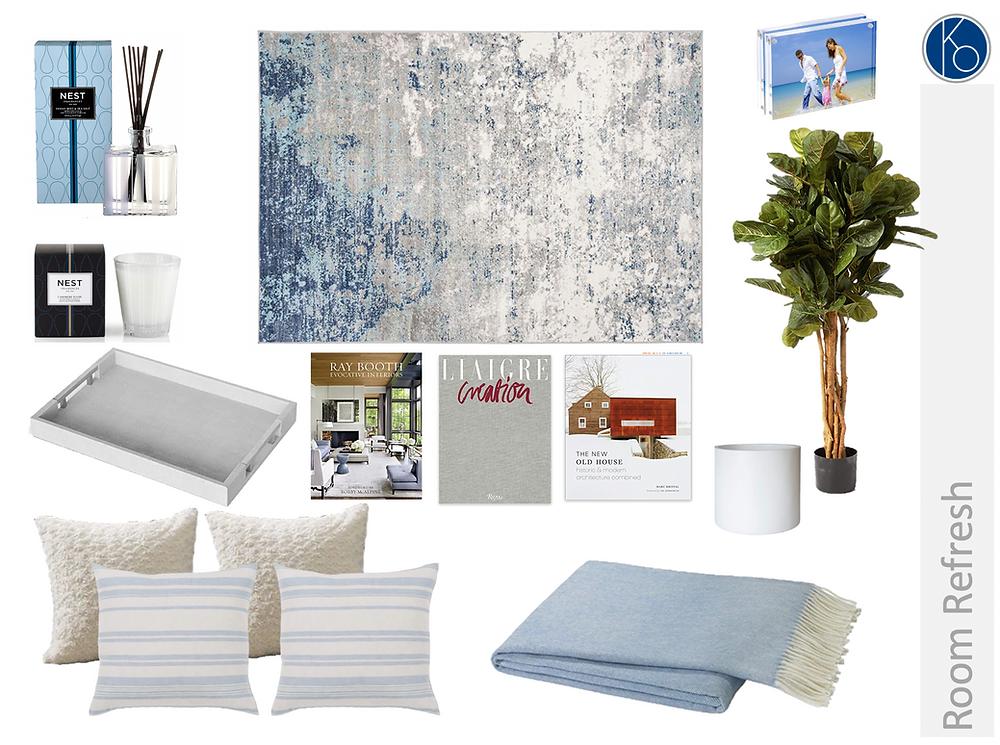 Swap out a few pieces to give your room a quick & easy fresh, coastal vibe